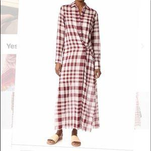 Theory Jinniefield Plaid Wrap Maxi Dress